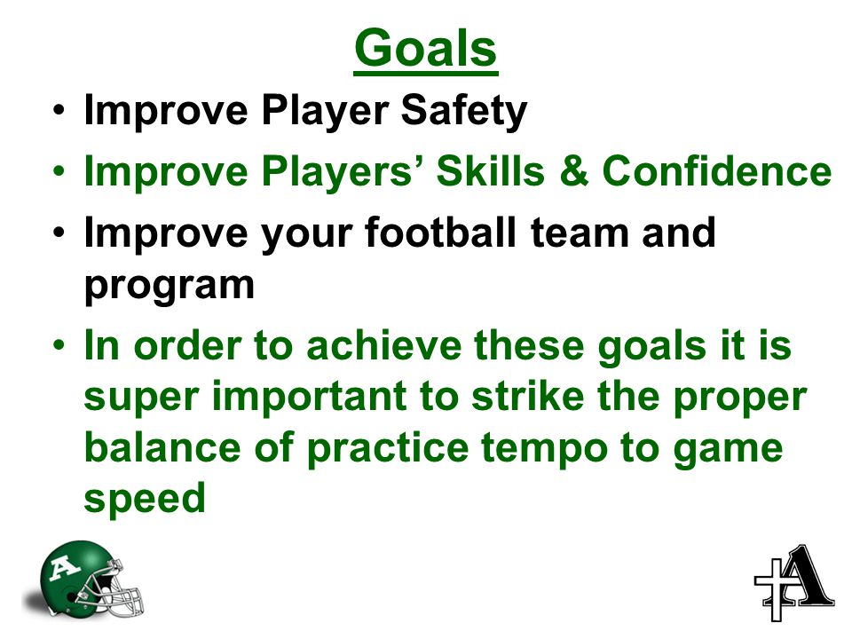 Goals Improve Player Safety Improve Players' Skills & Confidence