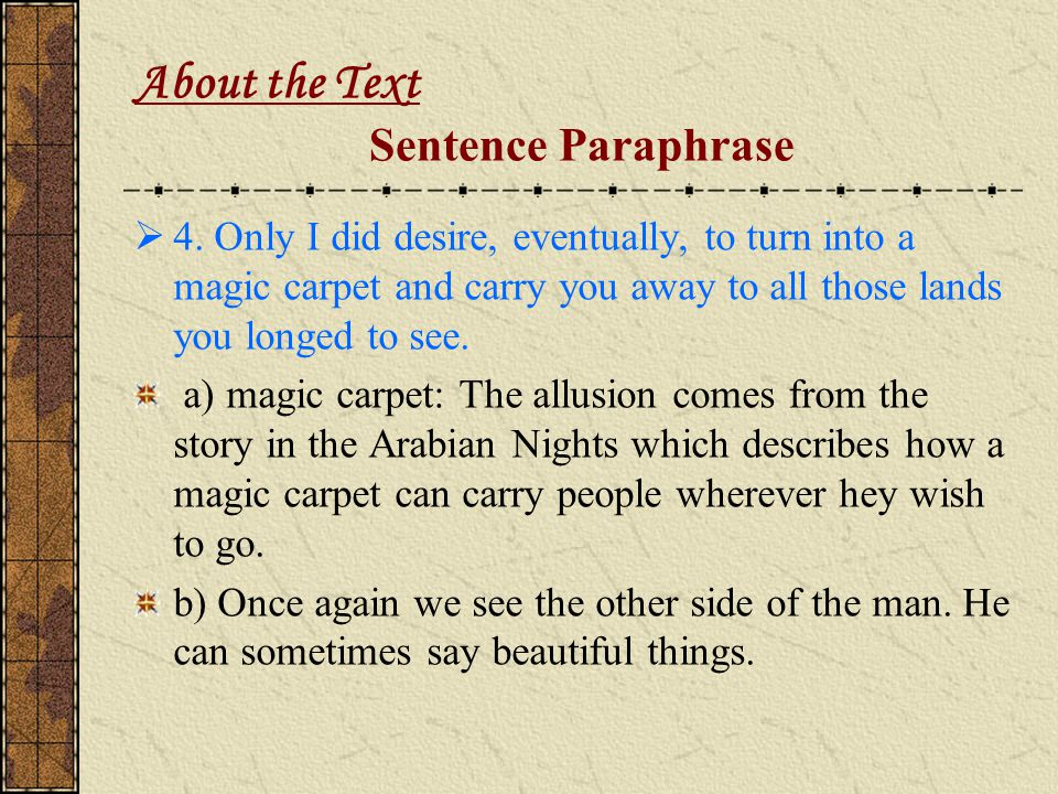 About the Text Sentence Paraphrase