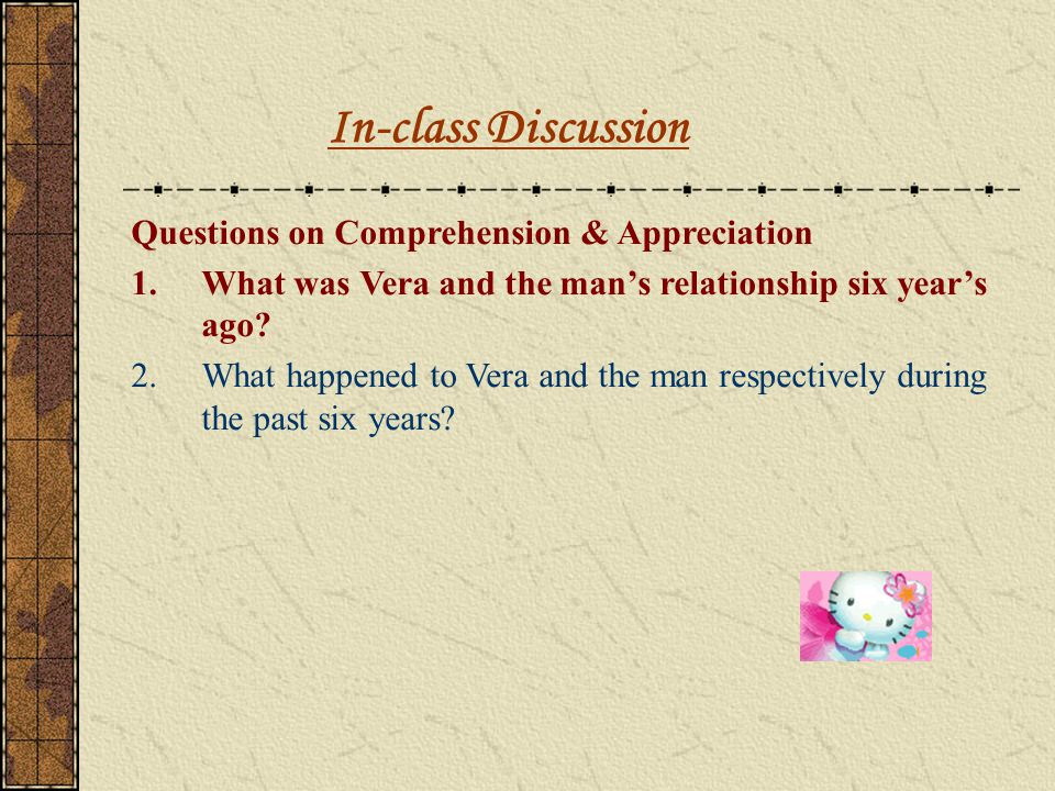 In-class Discussion Questions on Comprehension & Appreciation
