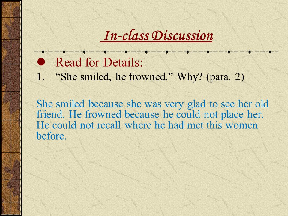 In-class Discussion Read for Details: