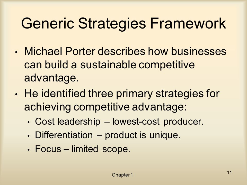 Generic Strategies Framework