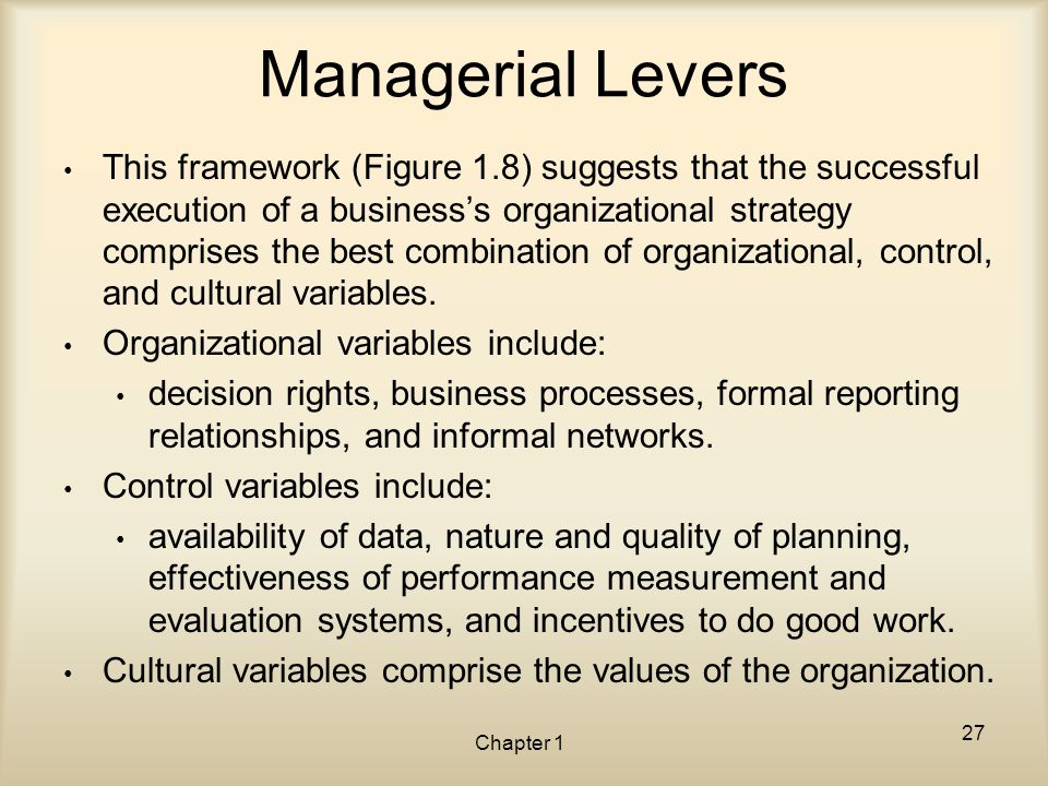 Managerial Levers