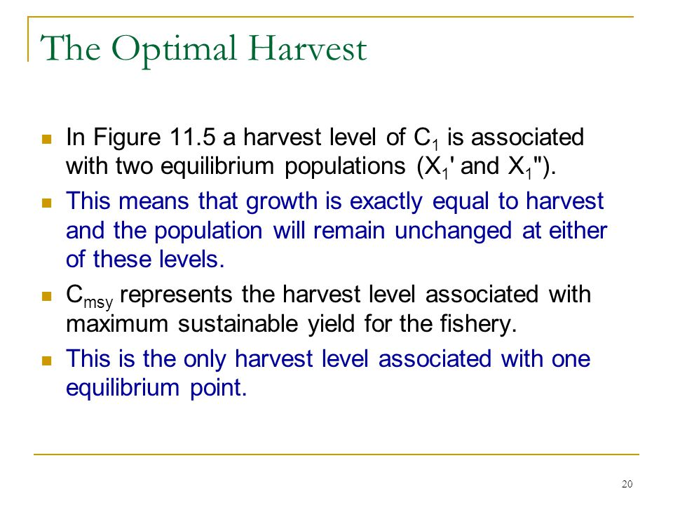 The Optimal Harvest In Figure 11.5 a harvest level of C1 is associated with two equilibrium populations (X1 and X1 ).