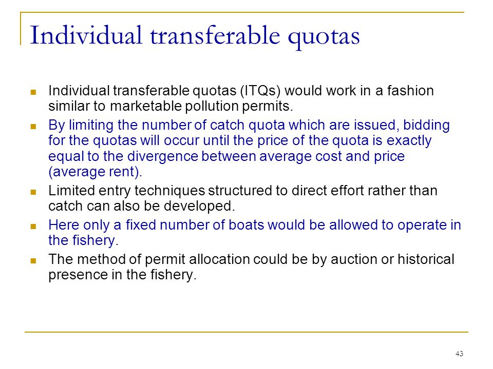 Individual transferable quotas