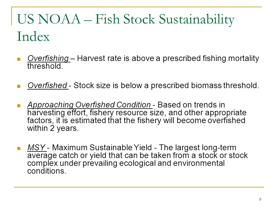 US NOAA – Fish Stock Sustainability Index