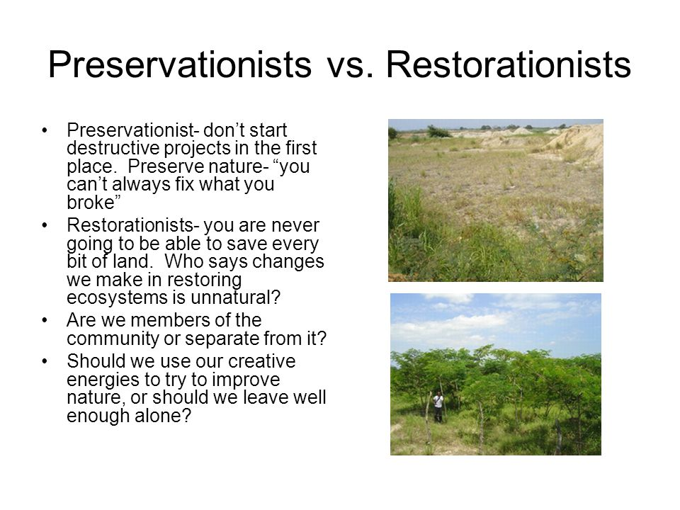 Preservationists vs. Restorationists