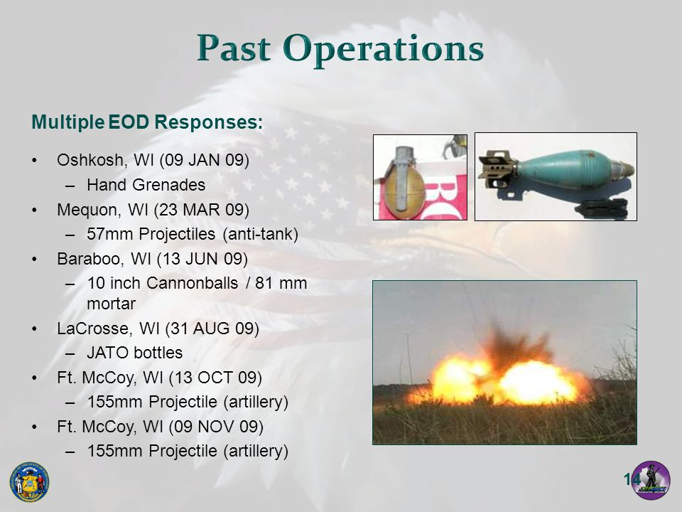 Past Operations Multiple EOD Responses: Oshkosh, WI (09 JAN 09)