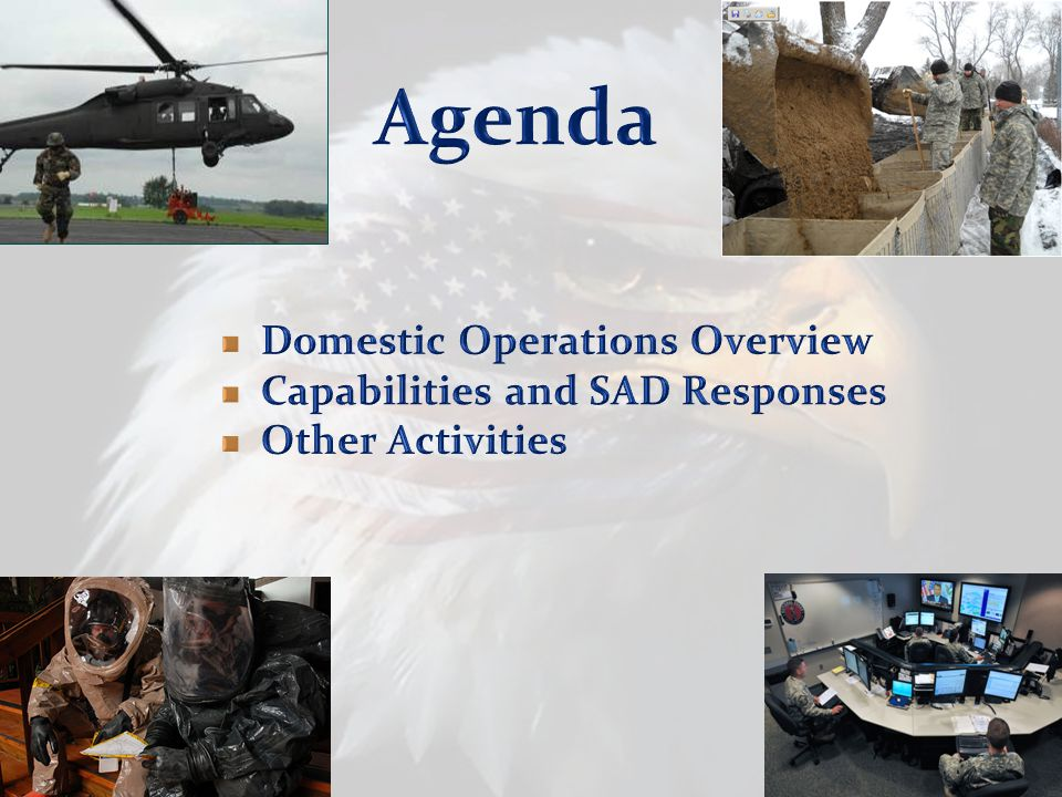 Agenda Domestic Operations Overview Capabilities and SAD Responses