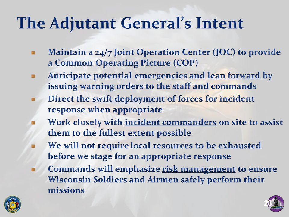 The Adjutant General's Intent