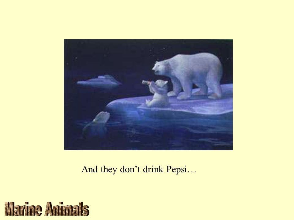 And they don't drink Pepsi…