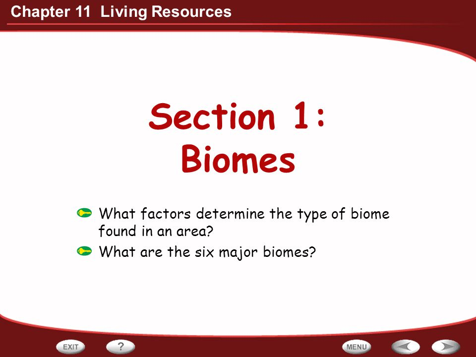 Section 1: Biomes What factors determine the type of biome found in an area.