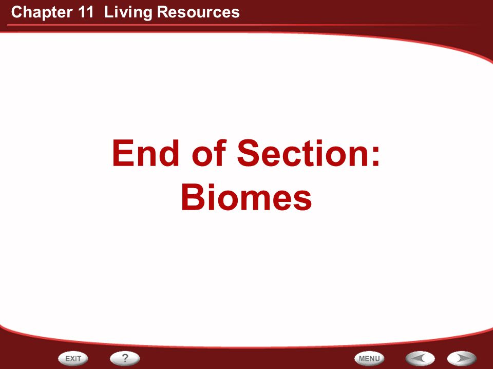End of Section: Biomes