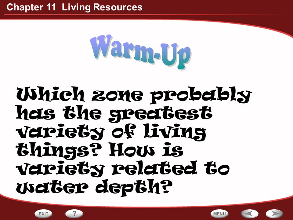 Warm-Up Which zone probably has the greatest variety of living things.