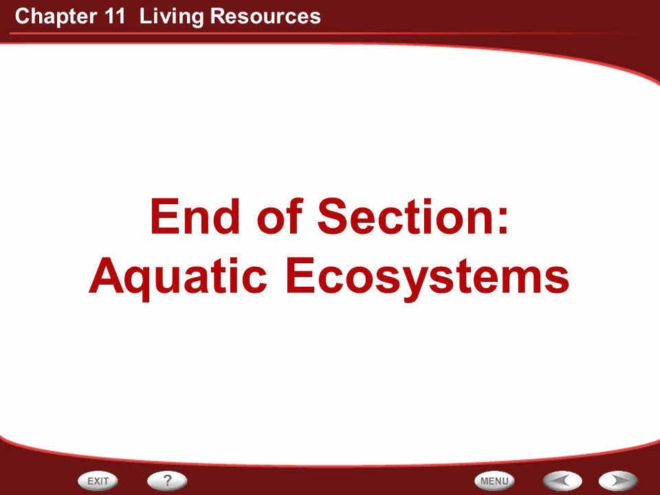 End of Section: Aquatic Ecosystems