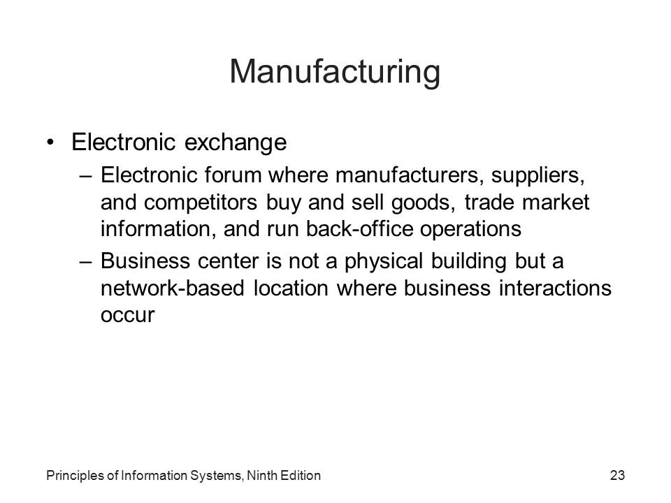 Manufacturing Electronic exchange