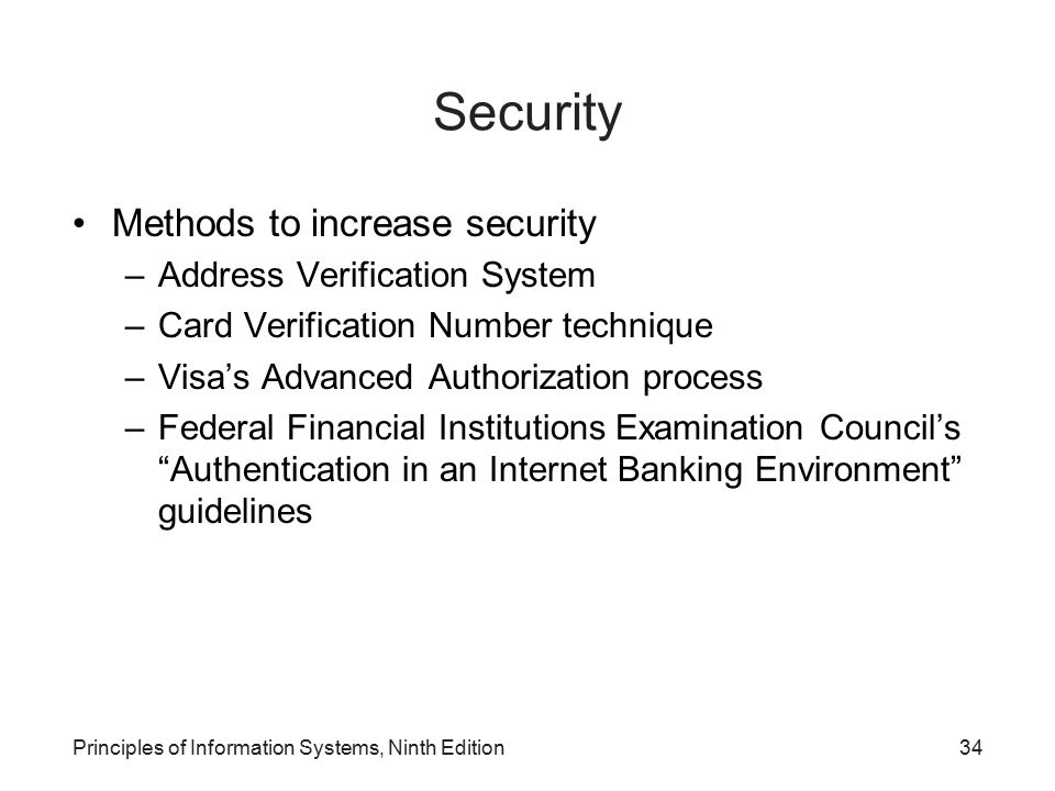Security Methods to increase security Address Verification System