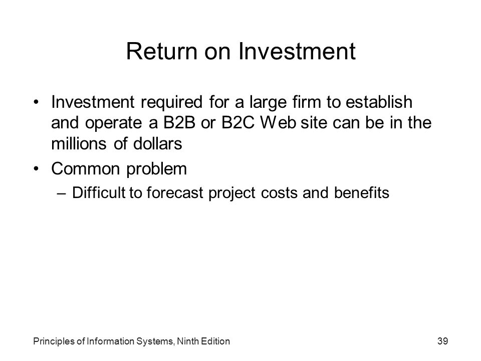 Return on Investment Investment required for a large firm to establish and operate a B2B or B2C Web site can be in the millions of dollars.