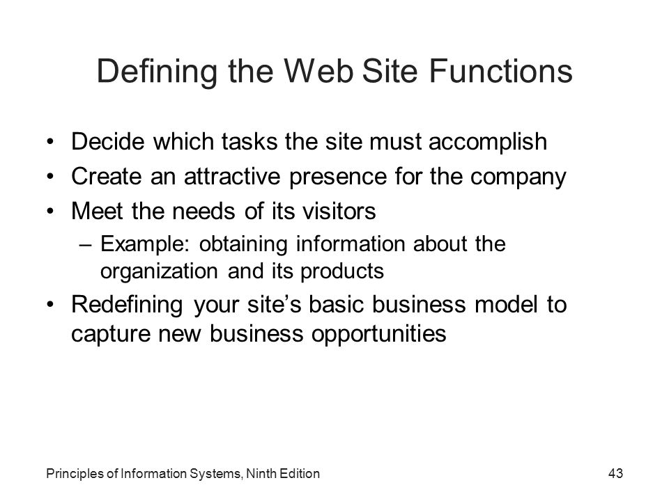 Defining the Web Site Functions