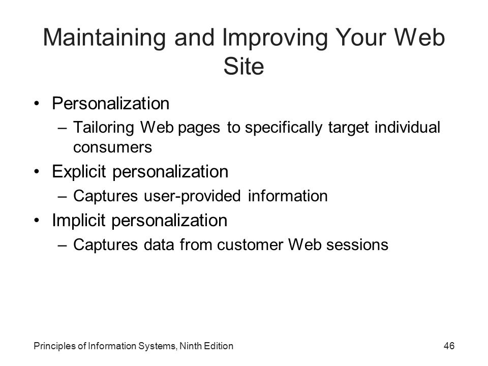 Maintaining and Improving Your Web Site