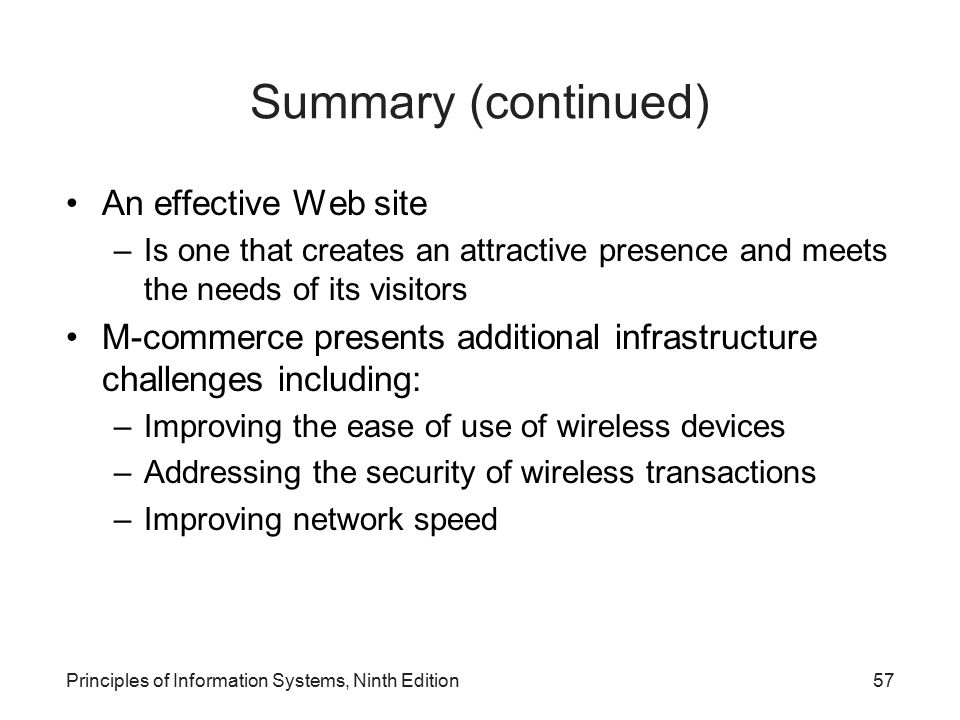 Summary (continued) An effective Web site