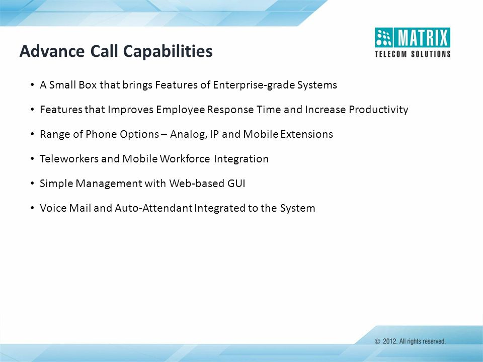 Advance Call Capabilities