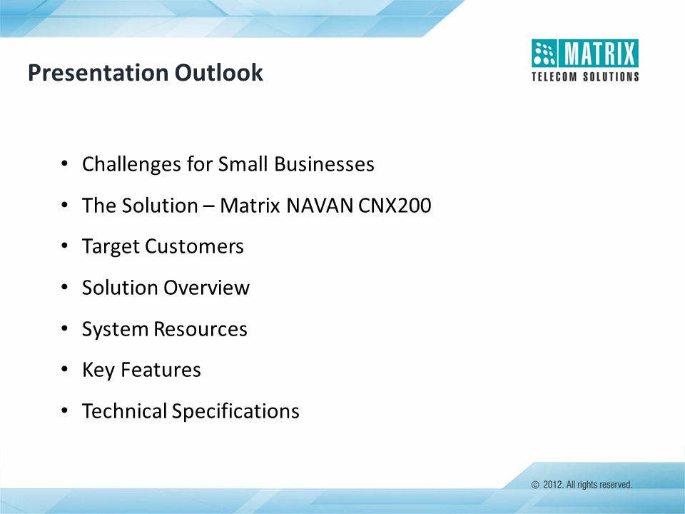 Presentation Outlook Challenges for Small Businesses