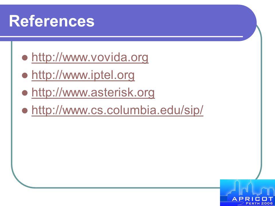 References http://www.vovida.org http://www.iptel.org