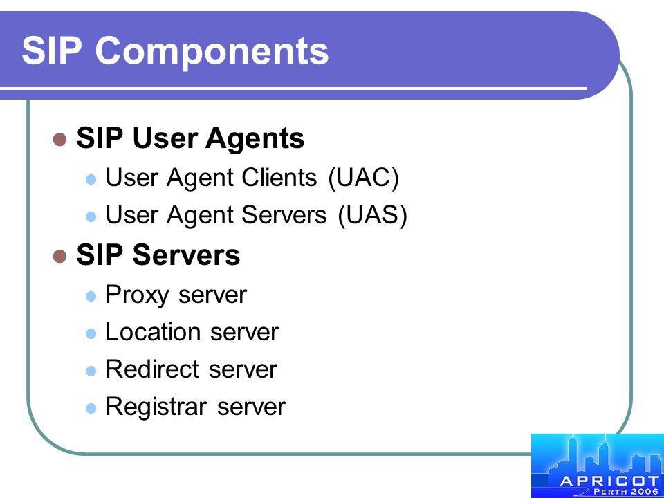 SIP Components SIP User Agents SIP Servers User Agent Clients (UAC)