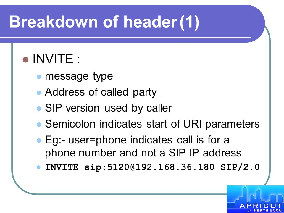 Breakdown of header (1) INVITE : message type Address of called party