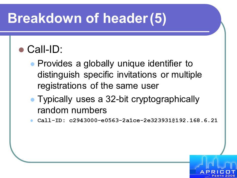 Breakdown of header (5) Call-ID: