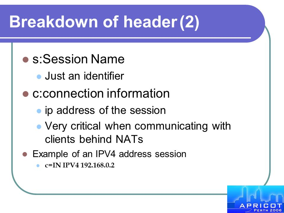 Breakdown of header (2) s:Session Name c:connection information