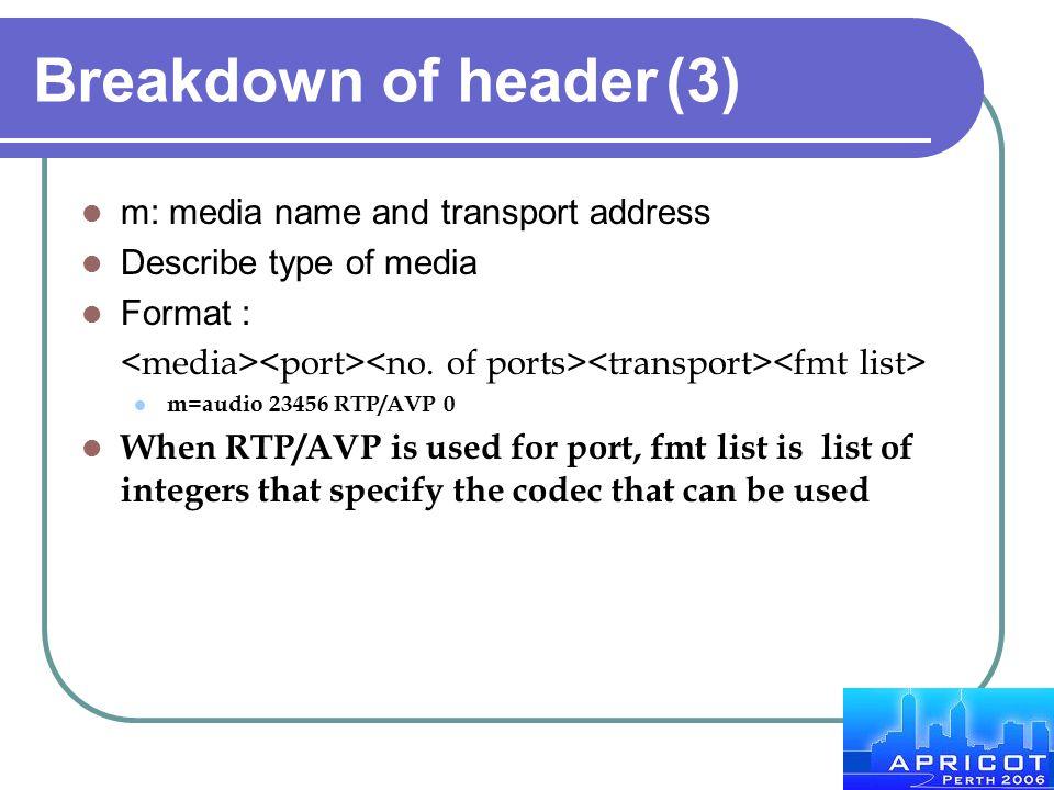 Breakdown of header (3) m: media name and transport address