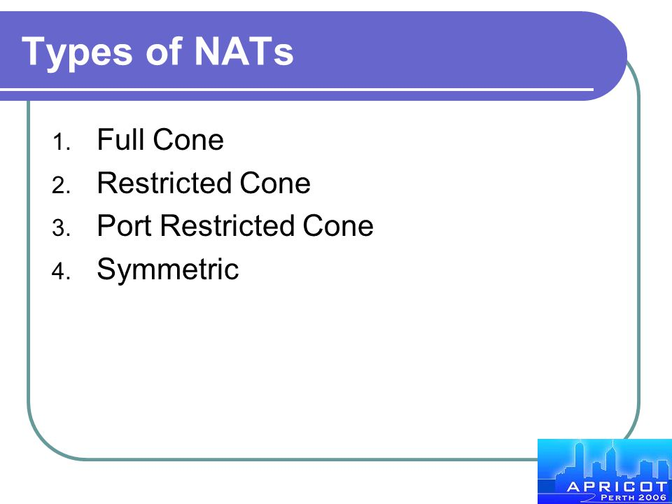 Types of NATs Full Cone Restricted Cone Port Restricted Cone Symmetric