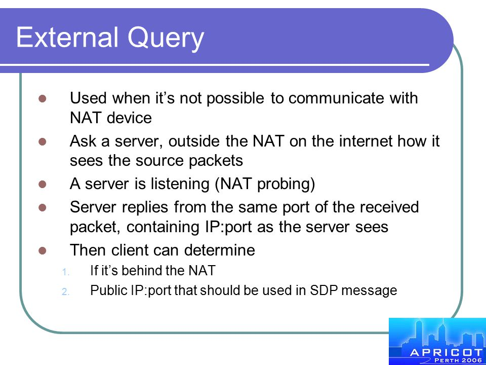 External Query Used when it's not possible to communicate with NAT device.
