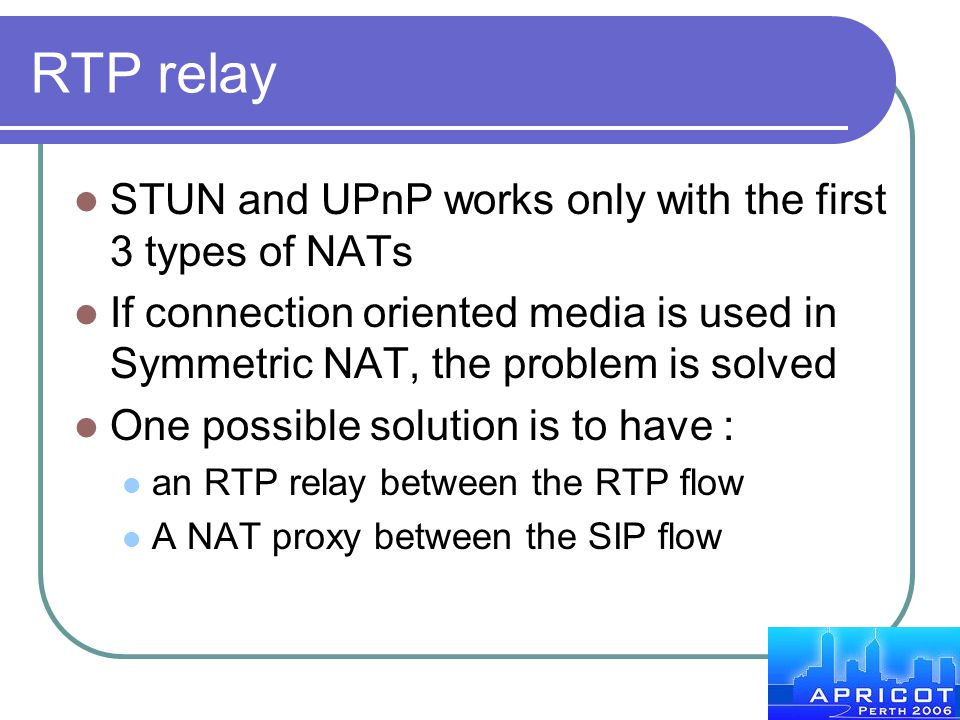 RTP relay STUN and UPnP works only with the first 3 types of NATs
