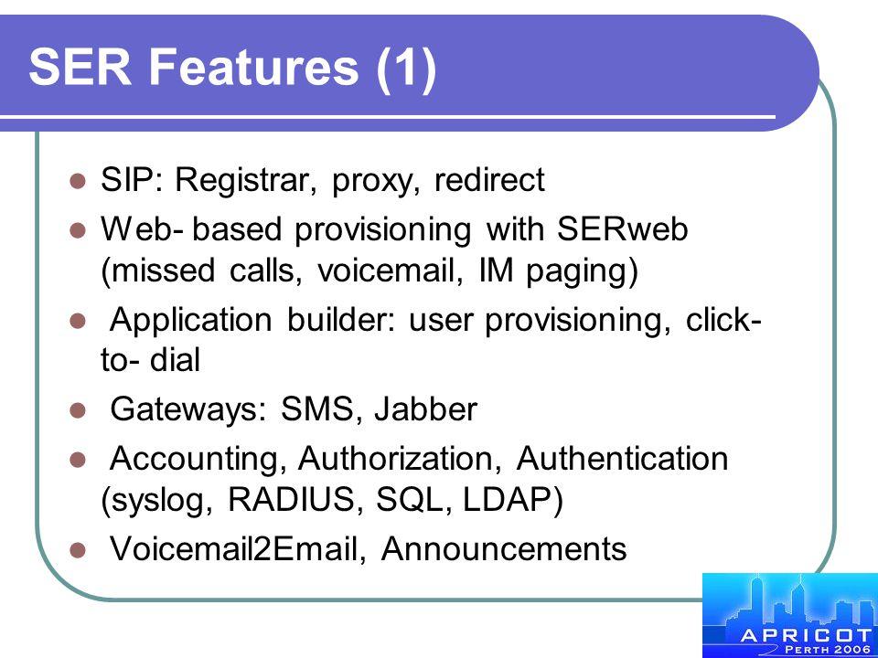 SER Features (1) SIP: Registrar, proxy, redirect