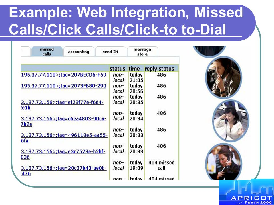 Example: Web Integration, Missed Calls/Click Calls/Click-to to-Dial