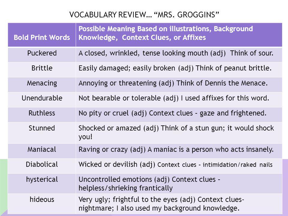 Vocabulary Review… Mrs. Groggins
