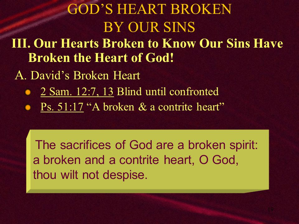 GOD'S HEART BROKEN BY OUR SINS