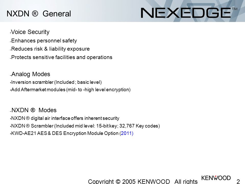 NXDN ® General Voice Security Analog Modes NXDN ® Modes