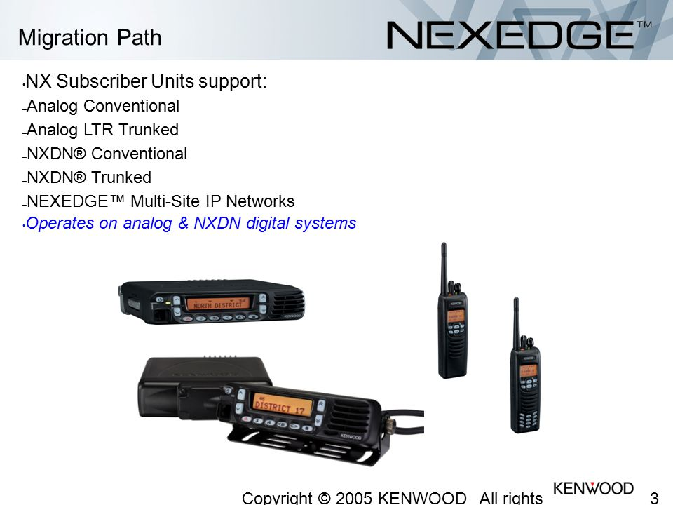 Migration Path NX Subscriber Units support: Analog Conventional