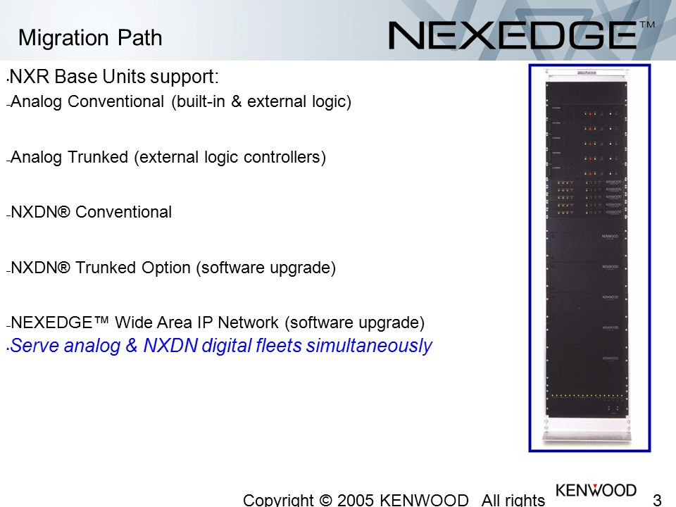 Migration Path NXR Base Units support: