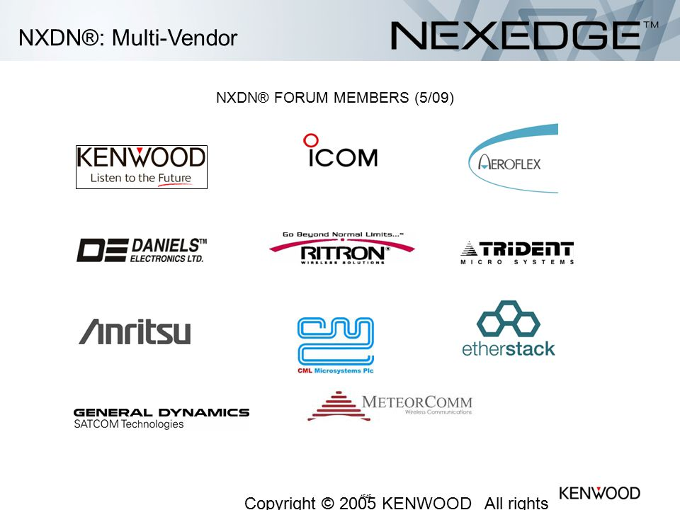 NXDN® FORUM MEMBERS (5/09)