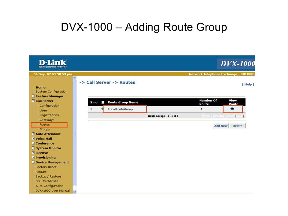 DVX-1000 – Adding Route Group