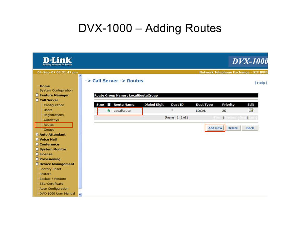DVX-1000 – Adding Routes