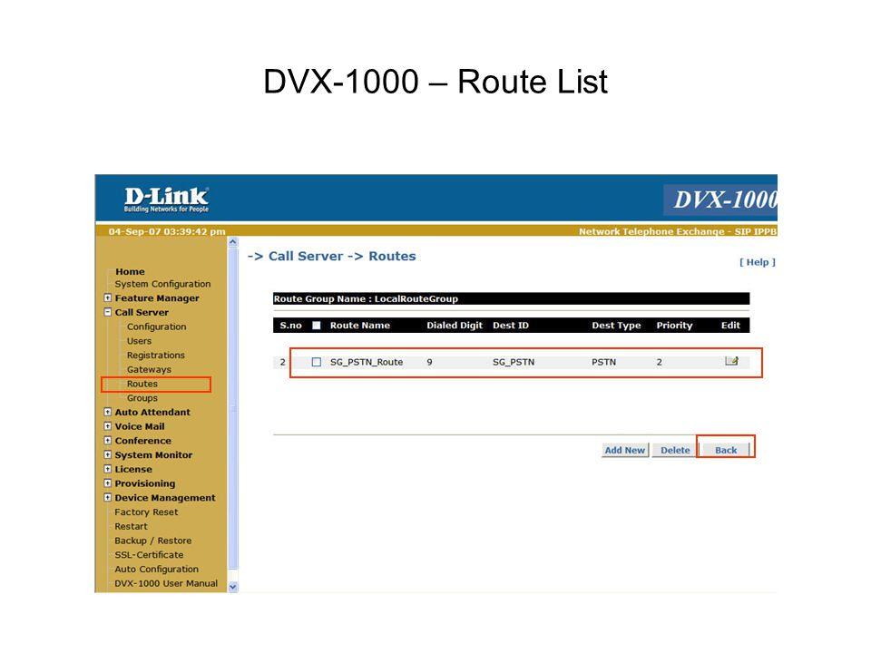 DVX-1000 – Route List