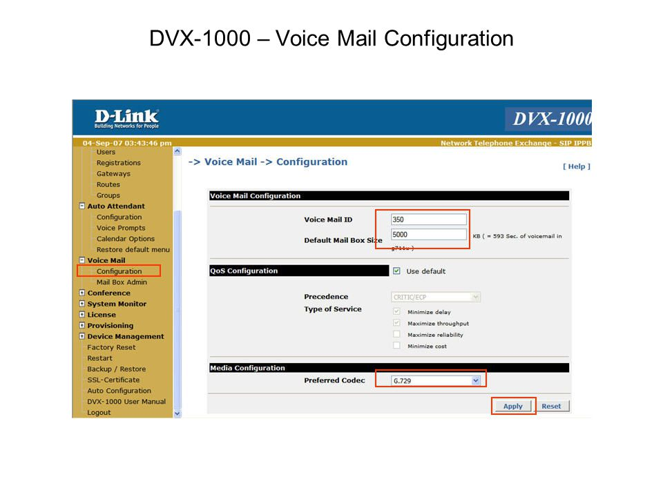 DVX-1000 – Voice Mail Configuration