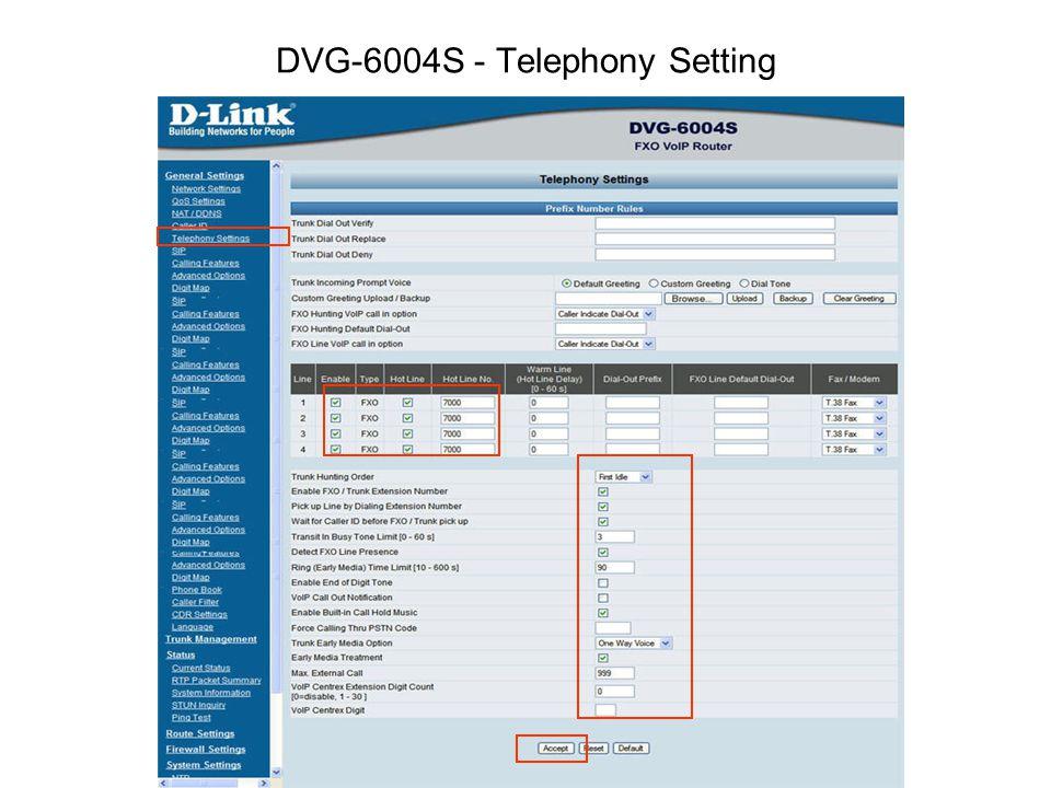 DVG-6004S - Telephony Setting