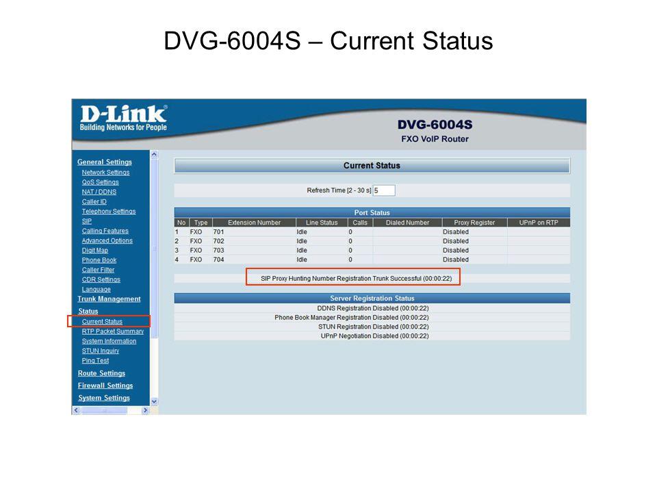 DVG-6004S – Current Status