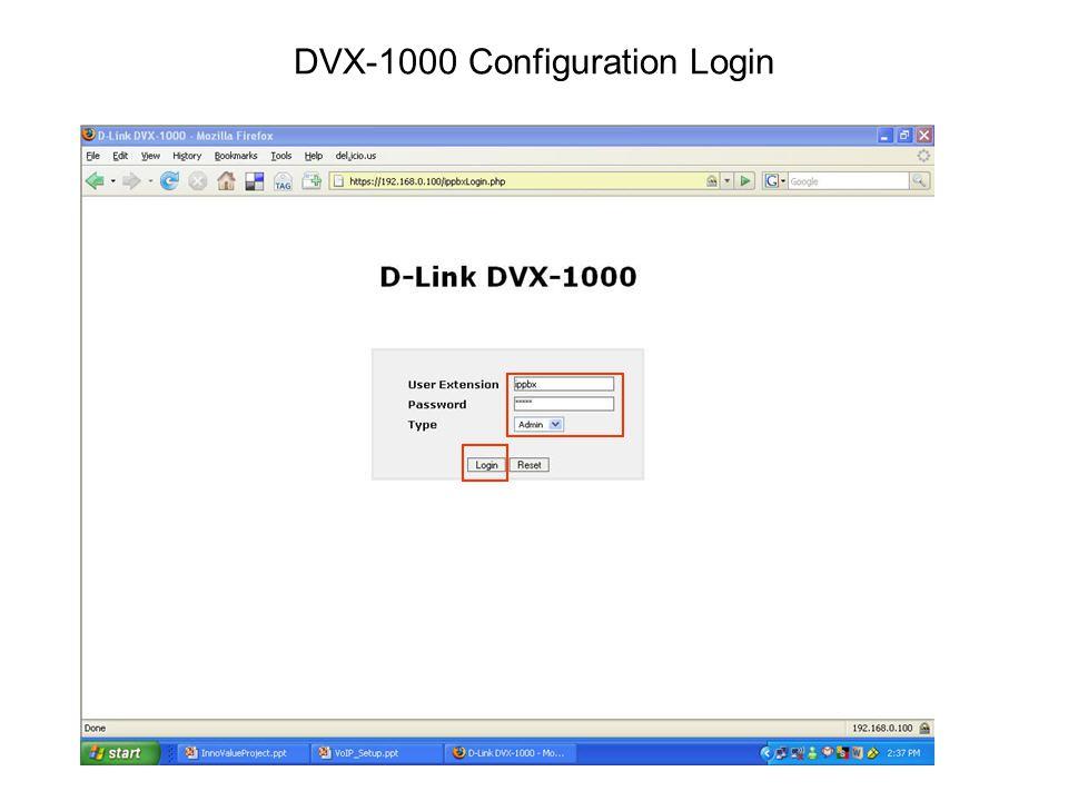 DVX-1000 Configuration Login